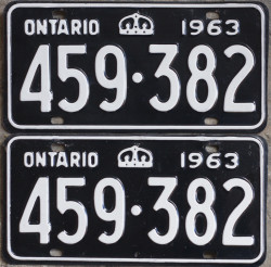 1963 Ontario licence plates for sale
