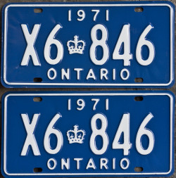 1971 YOM Ontario licence plates for sale