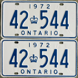 1972 Ontario licence plates for sale