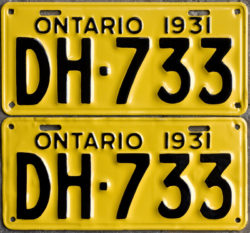 1931 Ontario YOM licence license plates for sale MTO1956 Ontario YOM licence license plates for sale MTO