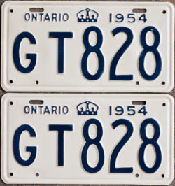1954 Ontario YOM licence license plates for sale MTO