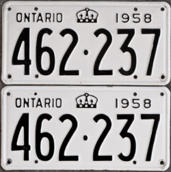 1958 Ontario licence plates for sale