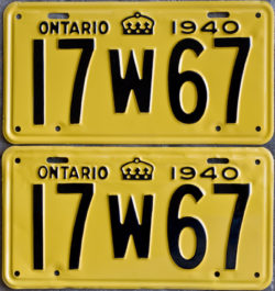 1940 Ontario YOM license plates for sale