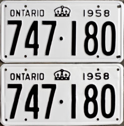 1958 Ontario YOM licence plates for sale