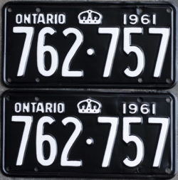 1961 Ontario YOM licence license plates for sale MTO