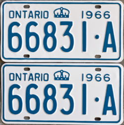 1966 Ontario YOM licence license plates for sale MTO