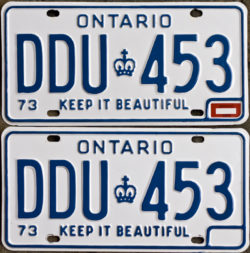 1974 Ontario license licence YOM plates