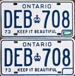 1975 Ontario license licence YOM plates