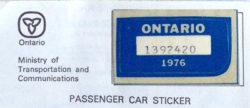 1976 Ontario license licence YOM plates