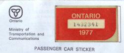1977 Ontario license licence YOM plates