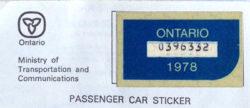 1978 Ontario license licence YOM plates