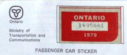 1979 Ontario license licence YOM plates