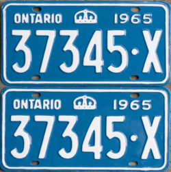 1965 Ontario licence plates for sale