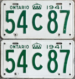 1941 Ontario licence plates for sale