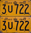 1942 Ontario YOM license plates for sale