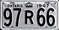 1947 Ontario YOM licence license plates for sale MTO1956 Ontario YOM licence license plates for sale MTO