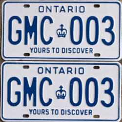 GMC Ontario license plates for sale