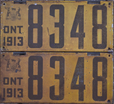 1913 Ontario license licence YOM plates
