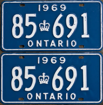 1969 Ontario YOM license plates for sale