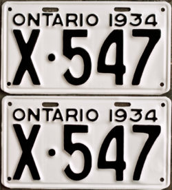 1934 Ontario YOM license plates for sale
