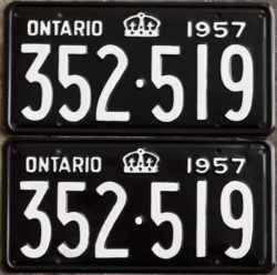 1957 Ontario YOM licence license plates for sale MTO