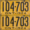 1924 Ontario YOM license plates for sale