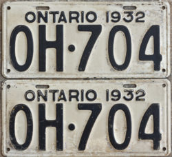 1932 Ontario YOM licence license plates for sale MTO