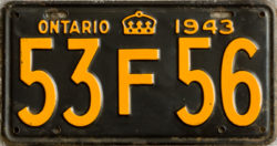 1943 Ontario YOM license plates for sale