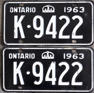 1963 Ontario YOM licence license plates for sale MTO