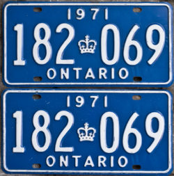 1971 Ontario YOM licence license plates for sale MTO