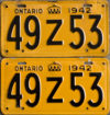1942 Ontario YOM licence license plates for sale MTO