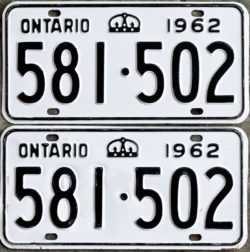 1962 Ontario YOM licence license plates for sale MTO