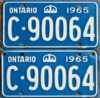 1965 Ontario YOM licence license plates for sale MTO