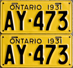 1931 Ontario YOM license plates for sale