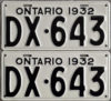 1932 Ontario YOM license plates for sale