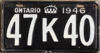 1946 Ontario YOM licence license plates for sale MTO