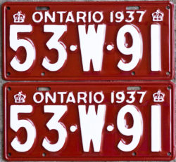 1937 Ontario YOM licence license plates for sale MTO