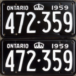 1959 Ontario YOM licence license plates for sale MTO