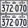 1962 Ontario licence plates for sale