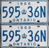 1968 Ontario YOM licence license plates for sale MTO
