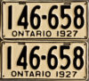 1927 Ontario license licence YOM plates