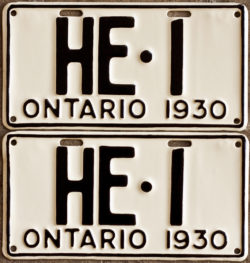 1930 Ontario YOM licence license plates for sale MTO