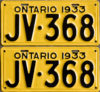 1933 Ontario YOM licence license plates for sale MTO
