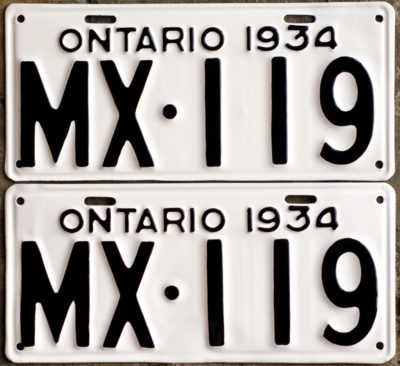 1934 Ontario YOM licence license plates for sale MTO