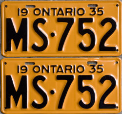 1935 Ontario YOM licence license plates for sale MTO