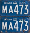 1953 Ontario YOM license plates for sale!