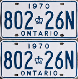 1970 Ontario licence plates for sale
