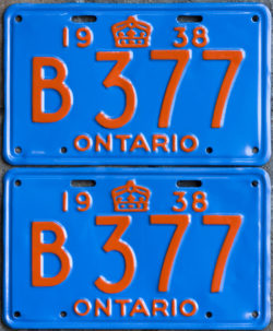 1938 Ontario YOM licence license plates for sale MTO
