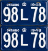 1948 Ontario licence plates for sale