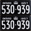 1957 Ontario YOM licence plates for sale